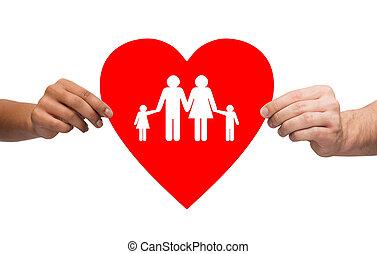 párosít, kézbesít, birtok, piros szív, noha, család