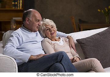 párosít, közül, öregedő emberek