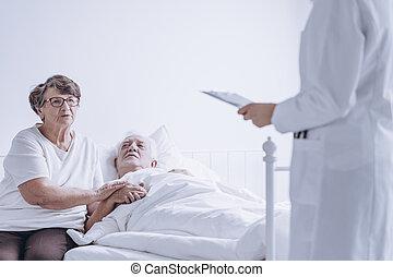 párosít, közül, bizakodó, idősebb ember, emberek