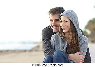 párosít, külső, tizenéves, ölelgetés, boldog