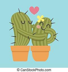 párosít, kaktusz, szerető
