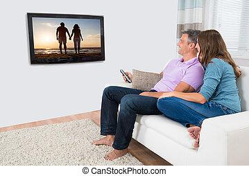 párosít, karóra televízió, képben látható, pamlag