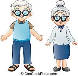 párosít, karikatúra, öregedő