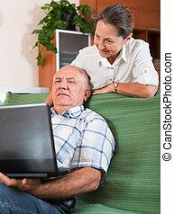 párosít, laptop, érett