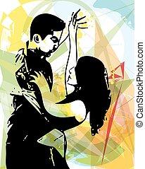 párosít, latino, tánc