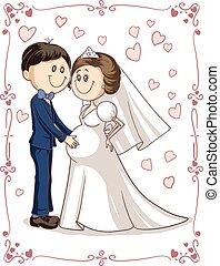 párosít, meghívás, terhes, esküvő