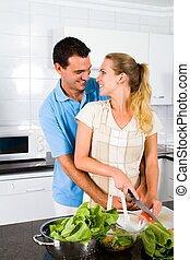 párosít, modern, newlywed, konyha