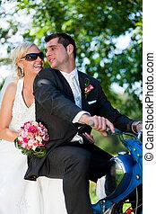 párosít, motorkerékpár, esküvő