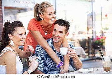 párosít, noha, egy, barát, közben, ebédel