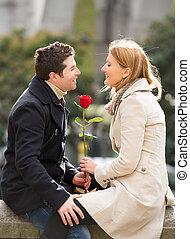 párosít, noha, egy, rózsa, csókolózás, képben látható, valentines nap