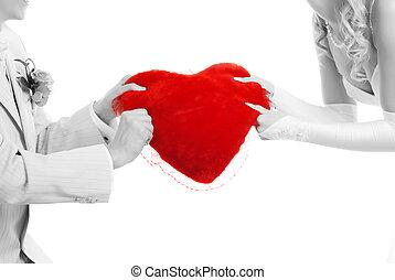 párosít, noha, piros szív