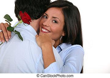párosít, noha, rózsa, alatt, kéz