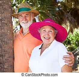 párosít, nyár, idősebb ember