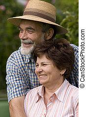 párosít, romantikus, idősebb ember