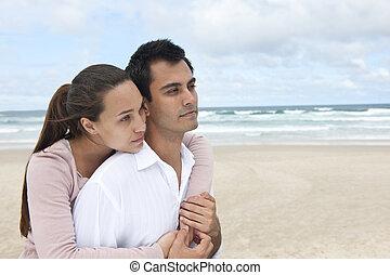 párosít, szerelemben, a parton