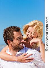 párosít, szerelemben, képben látható, nyár, tengerpart