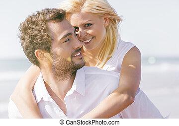 párosít, szerelemben, képben látható, nyár, tengerpart szünidő
