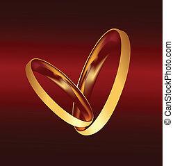 párosít, vektor, gyűrű, arany, esküvő