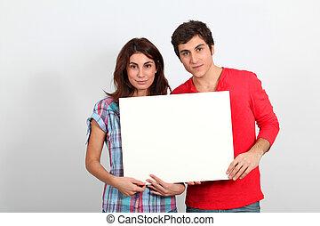 párosít, whiteboard, néz, birtok, boldog