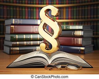 párrafo, señal, en, el, vendimia, libro, en, library., ley, concept.