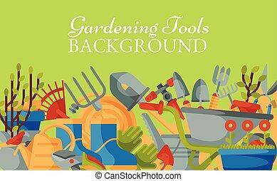 pás, árvore., ferramentas, flor, equipamento, aguando, enxada, carrinho de mão, pás, garfo, gardening., jardim, can., botas, mower, fundo, bandeira, gramado, illustration., trowel, vetorial, luvas