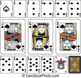 pás, conjunto, cartas de jogar