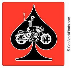 pás, esqueleto, ás, biker, vetorial, desenho