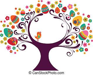 páscoa, árvore, fundo