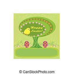 páscoa, abstratos, árvore