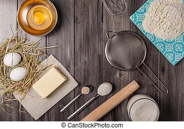 páscoa, baking., massa, ingredientes
