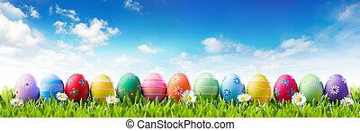 páscoa, bandeira, -, coloridos, pintado, ovos, em, fila, ligado, capim