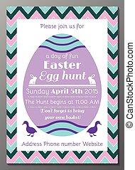 páscoa, caça, ovo, cartão, convite