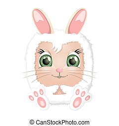 páscoa, caricatura, coelho, coelhinho