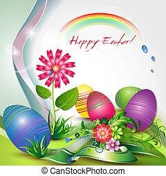 páscoa, cartão, com, ovos coloridos