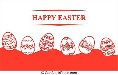 páscoa, cartão, com, ovos decorativos, fundo