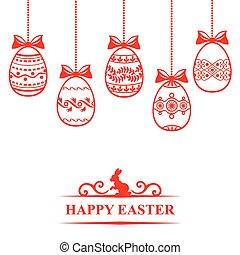 páscoa, cartão, com, ovos decorativos, penduradas