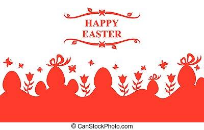 páscoa, cartão, com, ovos, e, flores