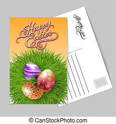páscoa, cartão cumprimento, feliz