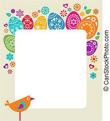 páscoa, cartão, modelo, com, ovos coloridos