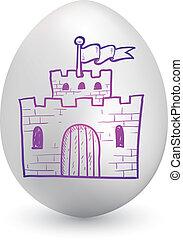 páscoa, castelo, ovo, esboço