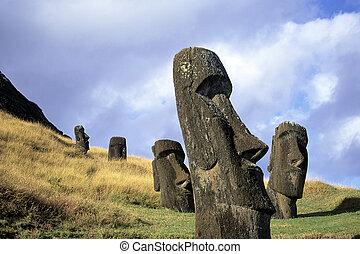 páscoa, chile, ilha, moai-