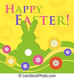 páscoa, colorido, cartão cumprimento, -, coelho, com, flores