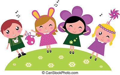 páscoa, cute, feliz, partido, crianças, primavera, celebração