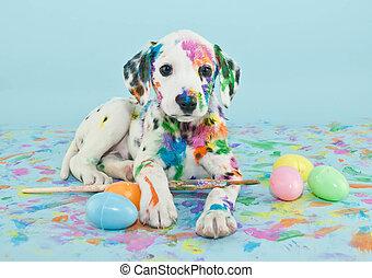 páscoa, dalmatain, filhote cachorro