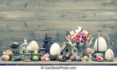 páscoa, decoração, com, cor-de-rosa, tulips, e, ovos