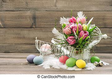 páscoa, decoração, ovos, e, cor-de-rosa, tulipa, flores
