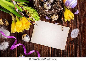 páscoa, decorações, ligado, um, madeira, fundo