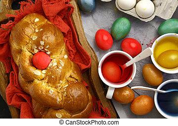 páscoa, doce, brioche, ovos coloridos, e, líquido, tintura