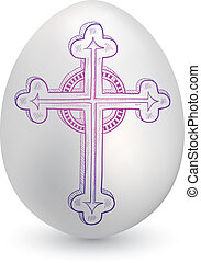 páscoa, esboço, ovo, crucifixo