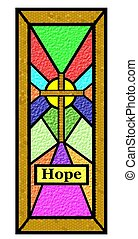 páscoa, esperança, manche vidro, janela